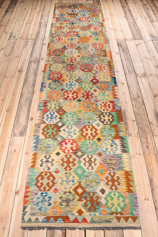 10532 Afghan Vegetable Kilim Runner Rug 86x397cm (2.10 x 13ft)