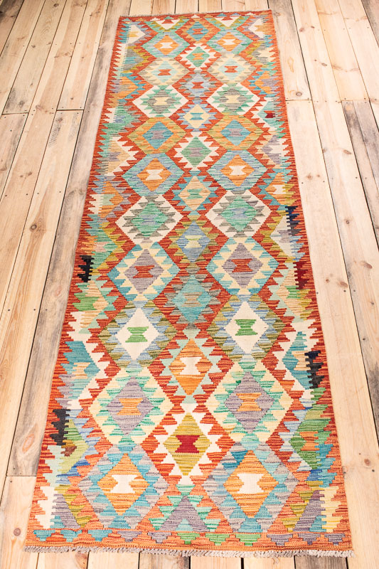 10535 Afghan Vegetable Kilim Runner Rug 85x290cm (2.9½ x 9.6ft)