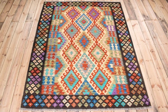 10555 Afghan Kilim Rug - Vegetable Dyed 153x200cm (5 x 6.6½ft)
