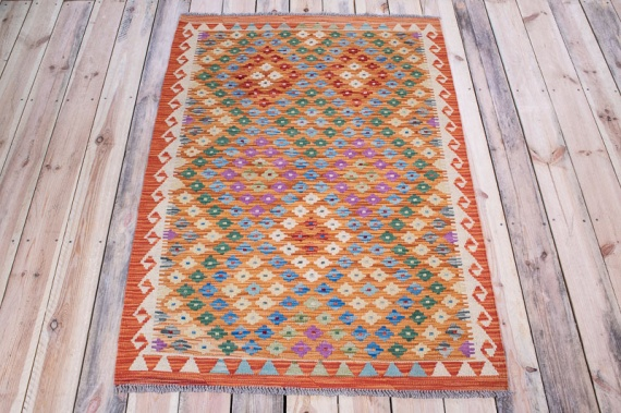 10566 Afghan Kilim Rug - Vegetable Dyed 103x150cm (3.4½ x 4.11ft)