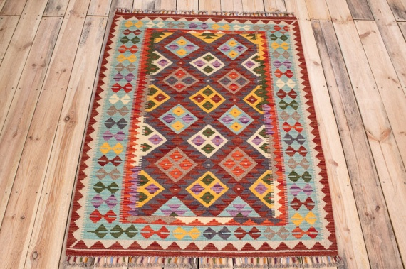 10568 Afghan Kilim Rug - Vegetable Dyed 107x147cm (3.6 x 4.10ft)