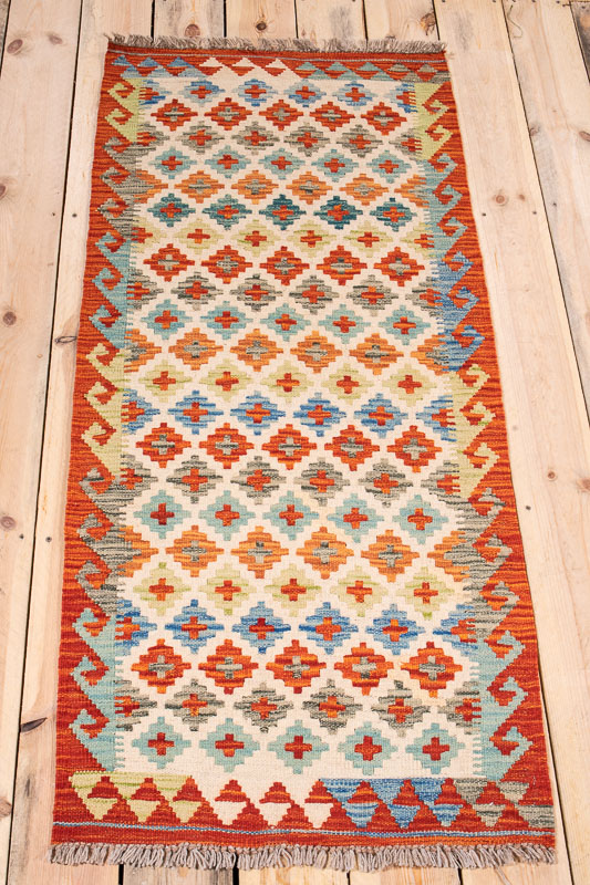 10577 Afghan Kilim Runner Rug - Vegetable Dyed 63x145cm (2.0½ x 4.9ft)