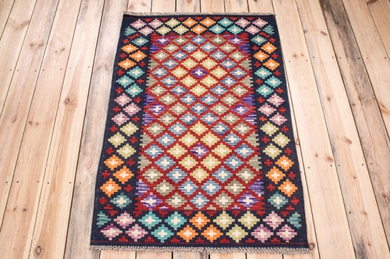 10617 Afghan Vegetable Dyed Kilim Rug 81x122cm (2.8 x 4ft)