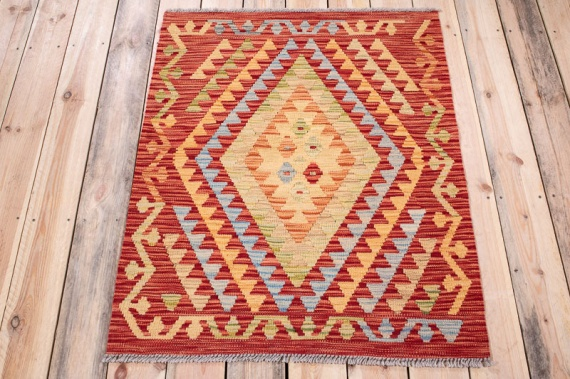 10619 Afghan Vegetable Dyed Kilim Rug 85x108cm (2.9½ x 3.6½ft)