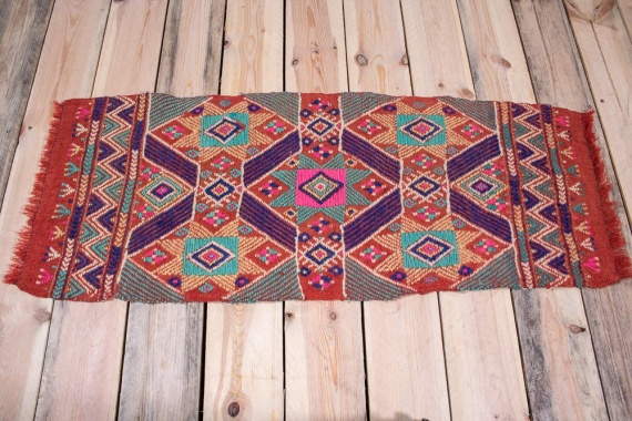 10698 Small Turkish Afyon Kilim Rug 43x106cm (1.5 x 3.5½ft)