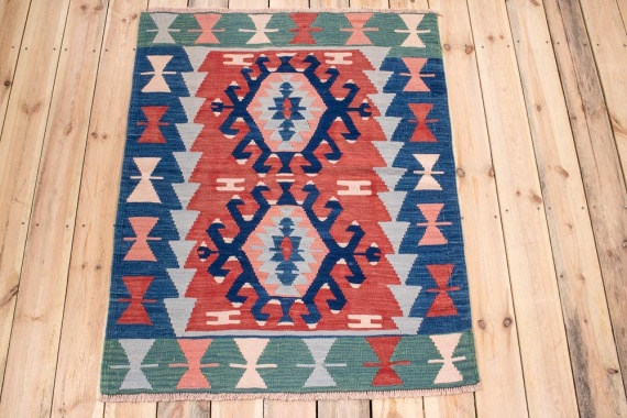 10790 Vintage Turkish Usak Kilim Rug 96x119cm (3.1½ x 3.11ft)