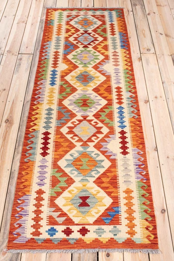 10819 Afghan Vegetable Dyed Kilim Runner Rug 79x247cm (2.7 x 8.1ft)