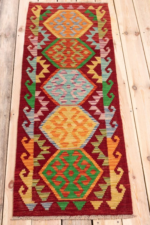 10835 Afghan Vegetable Dyed Kilim Runner Rug 55x146cm (1.9½ x 4.9½ft)