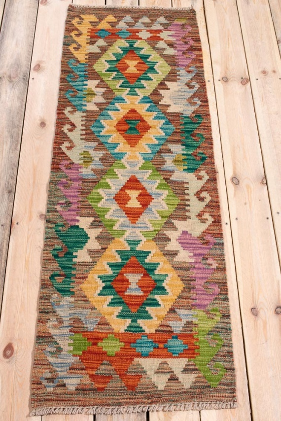 10836 Afghan Vegetable Dyed Kilim Runner Rug 52x153cm (1.8½ x 5ft)