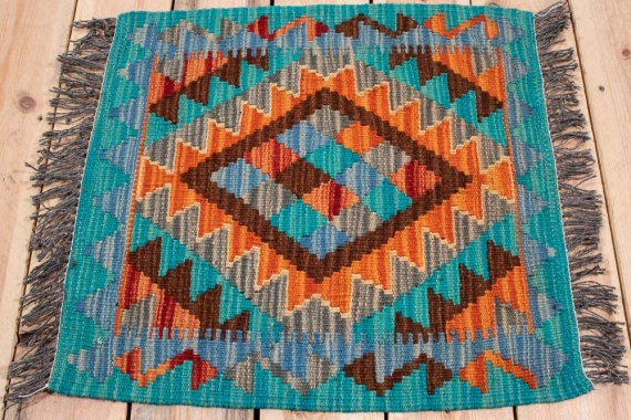 10855 Mini Afghan Vegetable Dyed Kilim Rug 51x55cm (1.8 x 1.9½ft)