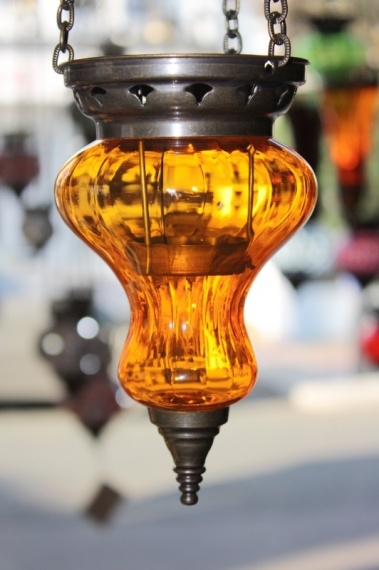 (10SORANGE) Orange Oriental Glass Lamp