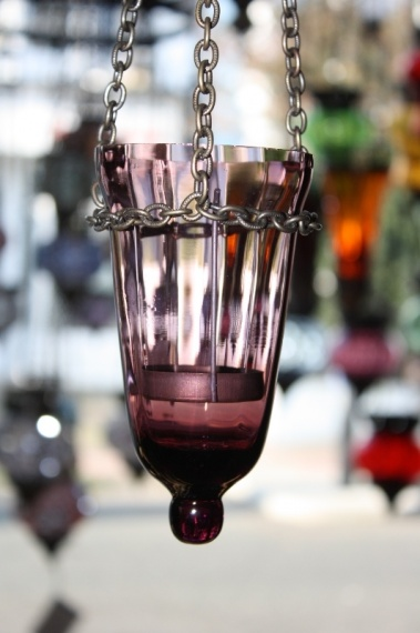 (18LILAC) Lilac Oriental Glass Lamp