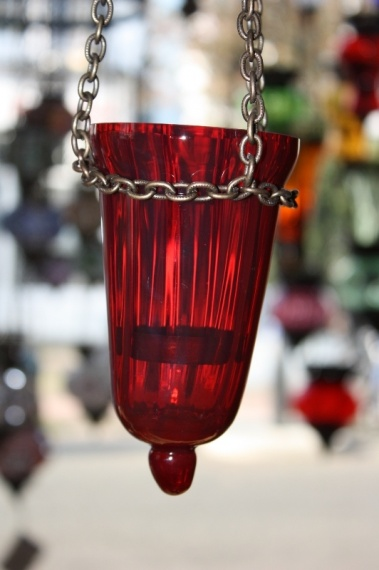 (18RED) Red Oriental Glass Lamp