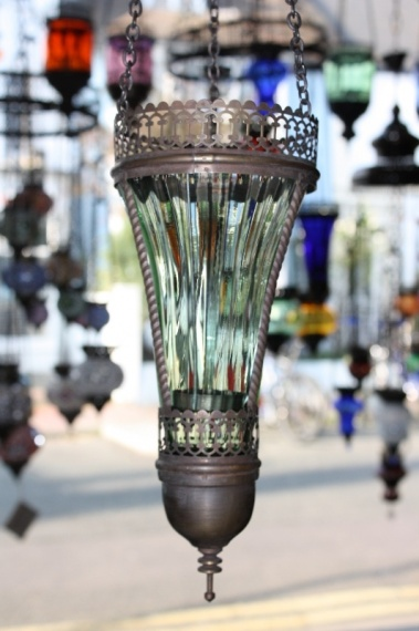 (48FGREEN) Green Oriental Glass Lamp
