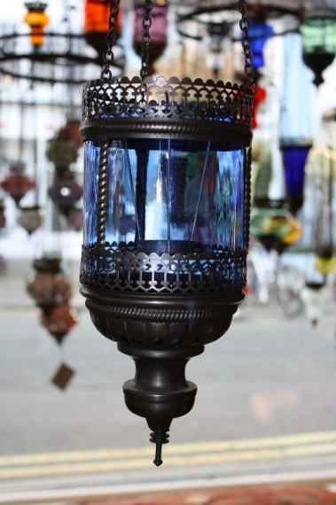 (57FBLUE) Blue Turkish Oriental Glass Lamp