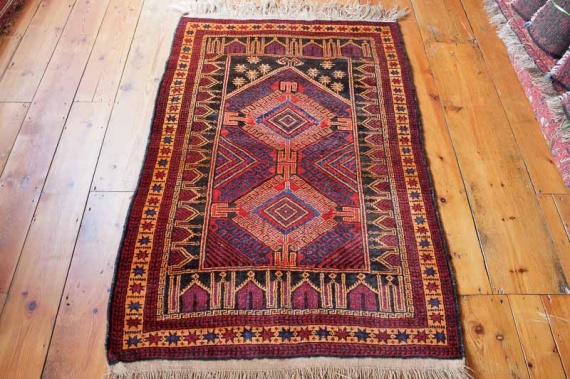 8227 Semi Antique Persian Baluch Prayer Rug 89x143cm (2.11 x 4.8ft)
