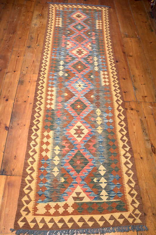 8742 Afghan Vegetable Dyed Kilim Runner Rug 87x302cm (2.10 x 9.10½ft)