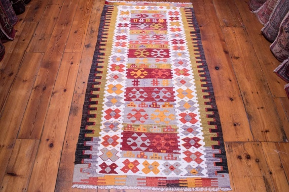 9062 Vintage Turkish Kilim Rug - Pamukkale 86x166cm (2.10 x 5.5½ft)
