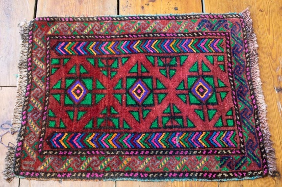 9379 Small Old Afghan Baluch Rug (45x57cm (1.5½ x 1.10½ft)