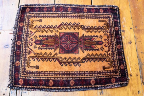 9383 Small Old Afghan Baluch Rug 54x62cm (1.9 x 2.0½ft)