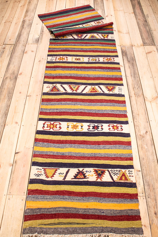 9965 Turkish Konya Kilim Runner Rug 74x321cm (2.5 x 10.6½ft)