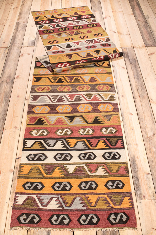 9966 Turkish Konya Kilim Runner Rug 74x353cm (2.5 x 11.7ft)