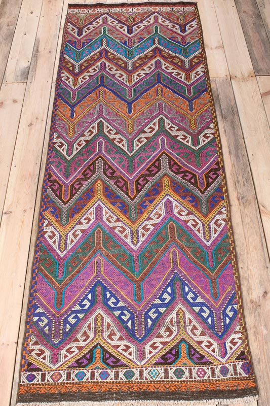 9984 Vintage Turkish Yunt Dagi Kilim Runner Rug 78x237cm (2.6½ x 7.9ft)