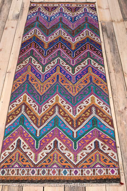 9987 Vintage Turkish Yunt Dagi Kilim Runner Rug 82x227cm (2.8 x 7.5½ft)