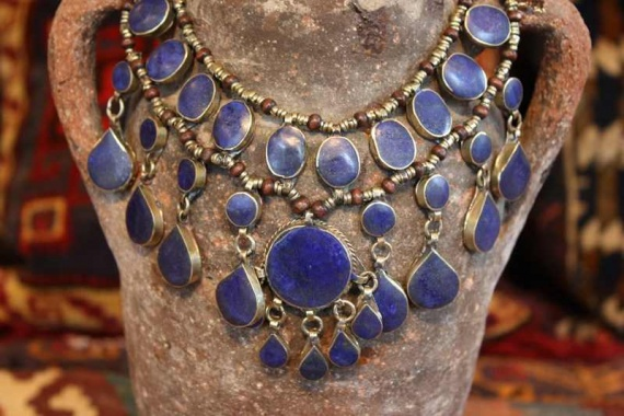 AN529 Tribal Afghan Lapis Necklace