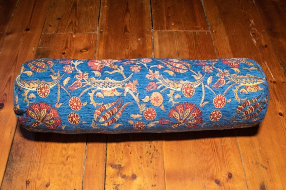 Medium Blue Ottoman Turkish Bolster Cushion Cover 20x70cm