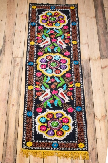 SUZ805 Folk Art Uzbek Velvet Suzani Embroidered Panel 64x240cm (2.1 x 7.10½ft)