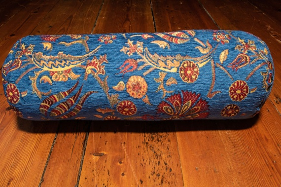 Small Blue Ottoman Turkish Bolster Cushion Cover 16x45cm