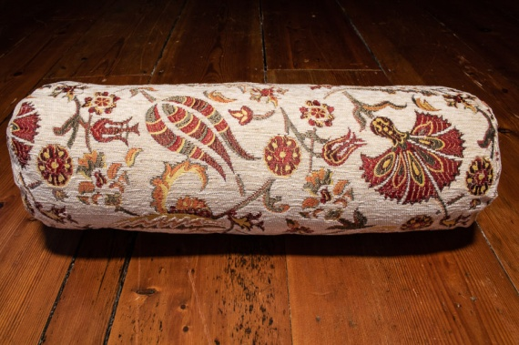 Small Cream Ottoman Turkish Bolster Cushion Cover 16x45cm