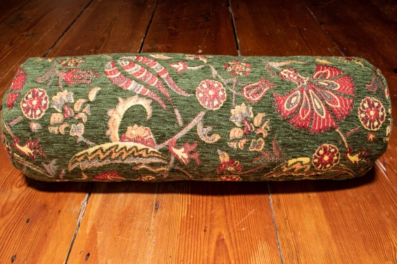 Small Green Ottoman Turkish Bolster Cushion Cover 16x45cm