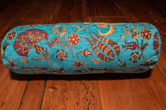 Small Turquoise Ottoman Turkish Bolster Cushion Cover 16x45cm