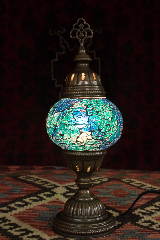 Turkish Blue Mosaic Table Lamp With Electrics