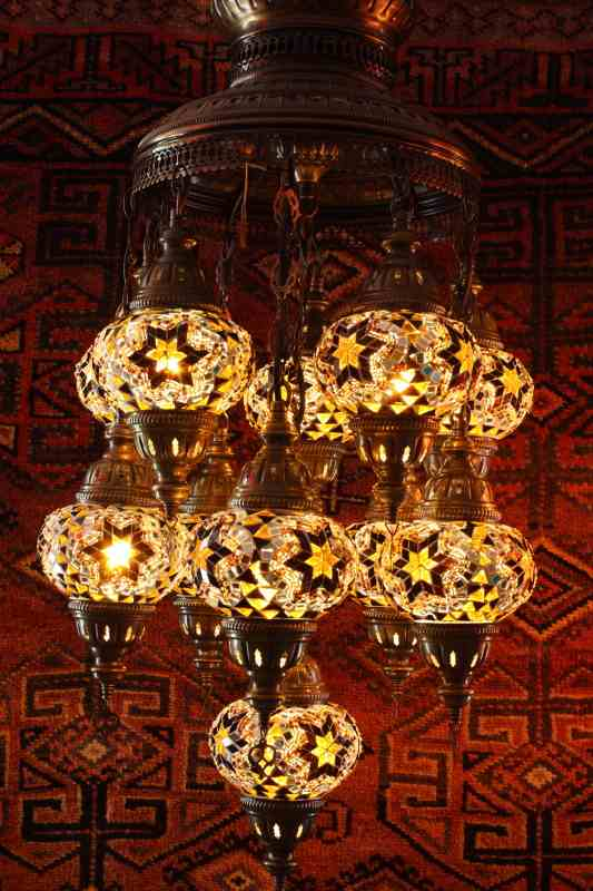 Turkish amber eleven lamp mosaic chandelier aloadofball Images
