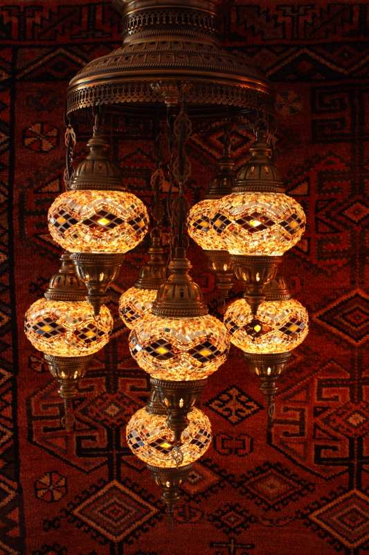 Turkish amber kilim nine lamp mosaic chandelier aloadofball Images