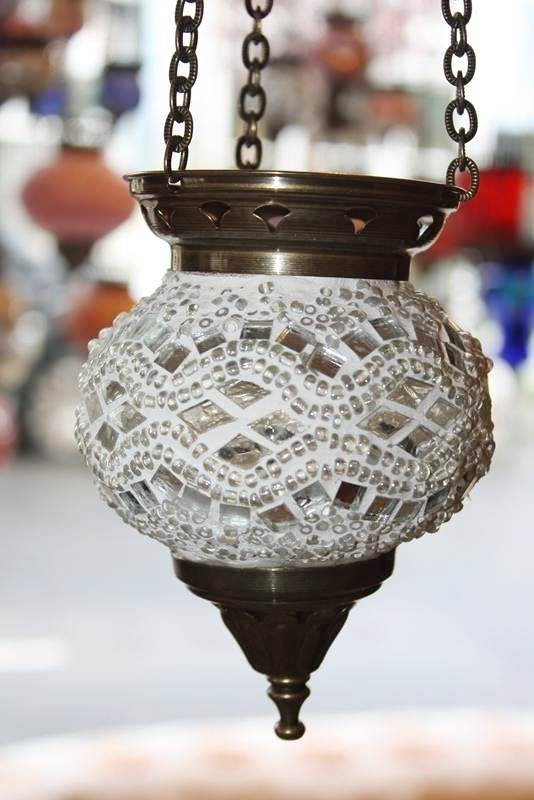 (HM10WK) White Turkish Mosaic Glass Lamp