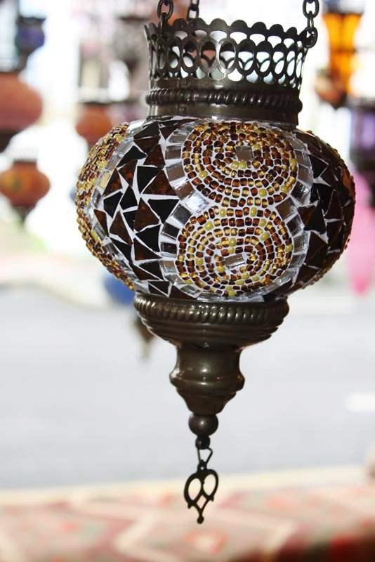 (HM12ACC) Amber Turkish Mosaic Glass Lamp