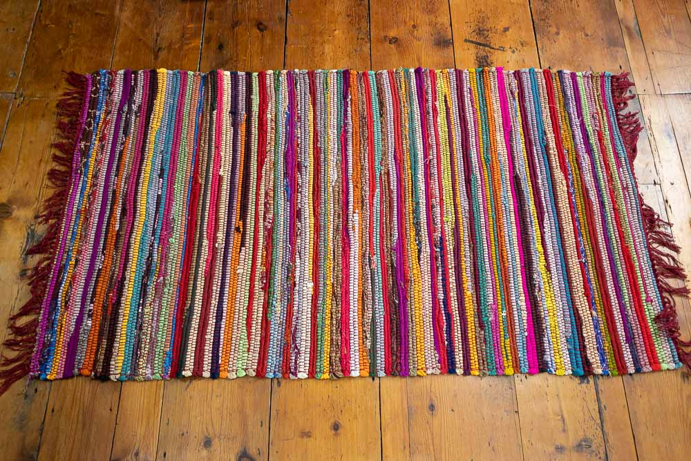 (RR525) Multi Rag Rug Red Hues 80x140cm