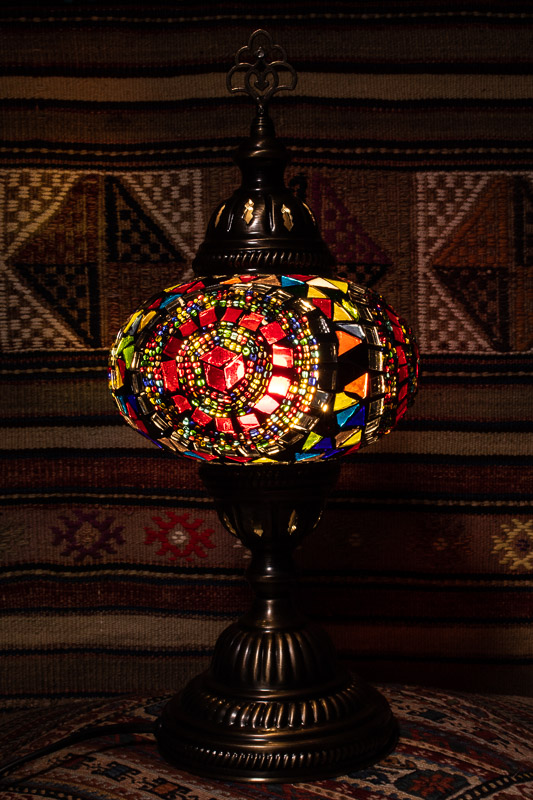 (TM14-T) Large Tiffany Turkish Mosaic Electric Glass Table Lamp