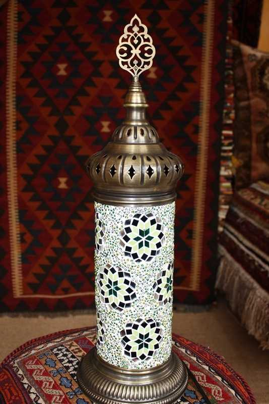 Green Turkish Mosaic Electric Glass Lamp 51x16cm