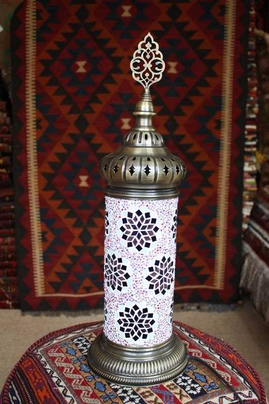 Lilac Turkish Mosaic Electric Glass Lamp 51x16cm