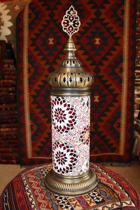 (TM51R) Red Turkish Mosaic Electric Glass Lamp