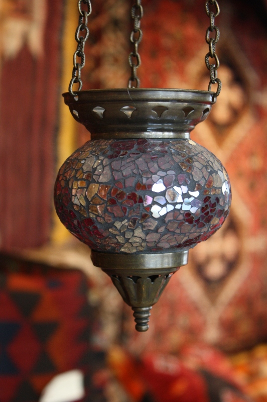 (58CZPURPLE) Purple Shiny Turkey Mosaic Oriental Glass Lamp