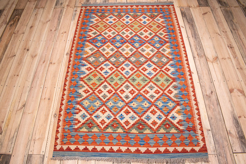 10392 Afghan Vegetable Dyed Kilim Rug 119x188cm (3.11 x 6.2ft)