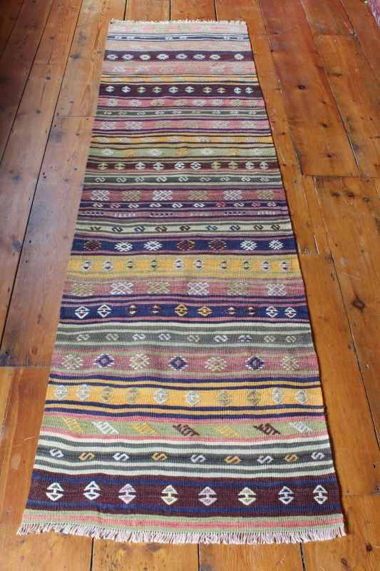 7891 Turkish Afyon Kilim Runner Rug 69x232cm (2.3 x 7.7ft)