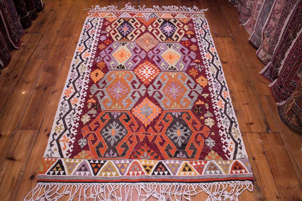 Stunning Antique Adana Turkish Kilim For Sale