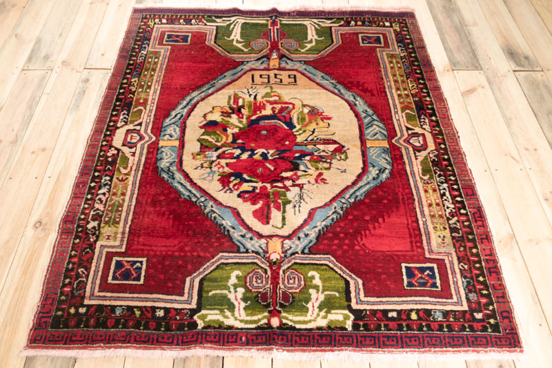 9889 Rare Turkish Gordes Rug 141x162cm (4.7½ x 5.3½ft)